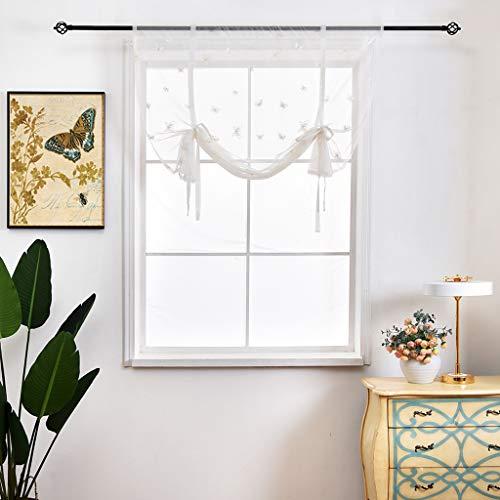 SIMPVALE 1 Stück Raffrollo mit Schmetterlings-Stickerei - Tüll-Voile Sheer Gardinen - Durchsichtige Raffgardinen für Wohnzimmer Schlafzimmer Kinderzimmer Küche Balkon Badezimmer, Gelb, 100x140cm
