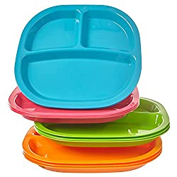 Kid\'s 3 compartment and 4 compartment plastic plates/trays on sale ...