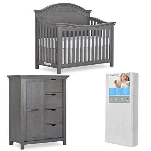 Best Prices! Evolur Belmar Curve 5 in 1 Convertible Crib & Tall Chest with Free 260 Coil Crib & Todd...