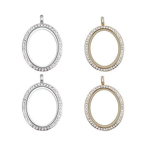 WANDIC Abalorio para fotos de diamantes de imitación, 4 piezas de marco de cristal ovalado, medallón de memoria para 2 fotos