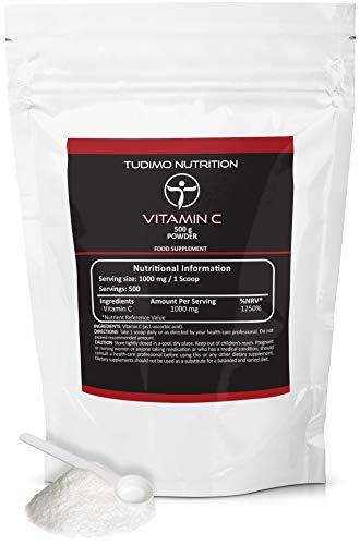 Vitamin C Pulver 500g | 1000mg pro Portion | Vegan | Jede Dosierschaufel mit 1000 mg an Hochwertigem & Reinem Ascorbinsäure-Pulver in Großem XXL Familienpack