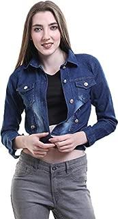 G.S.A ENTERPRISES 3/4 Sleeves Dark Blue Regular Collar Women's Denim Jacket