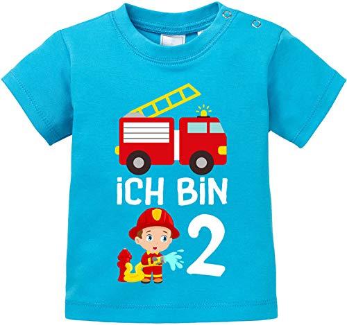 EZYshirt® Kinder Feuerwehrauto 2. Geburtstag Jungen T-Shirt Baby Bio Baumwolle