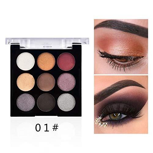 DOUYUAN Purple 9color Matte Palette de Fard à paupières Longue durée Maquillage imperméable Diamant Naturel Glitter Eye Palette (Color : 01)