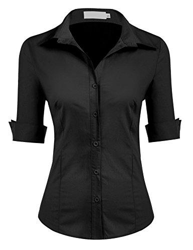 UNibelle Blusa para mujer, camisa entallada, manga 3/4, camisa de trabajo, básica, camisa de negocios Negro XL
