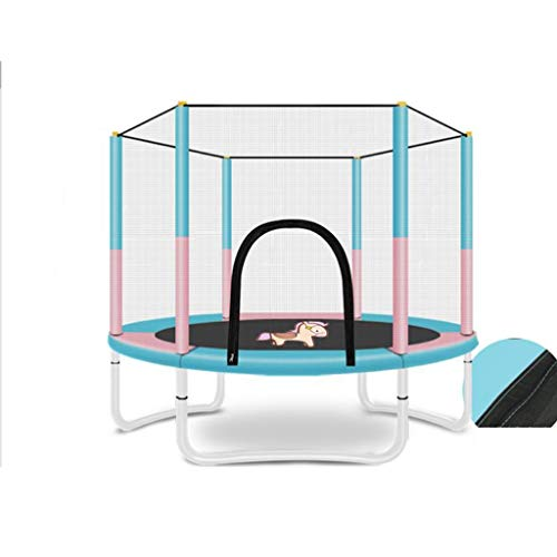 M-YN 5 FT Trampoline with Safety Enclosure -Indoor or Outdoor Trampoline for Kids-Colorful (Color : Pink+blue)