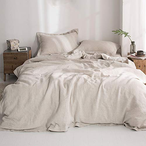 """Simple&Opulence 100% Washed Linen Duvet Cover Set with Embroidered,King Size(104""""x92""""),3 Pieces Soft Hypoallergenic Comforter Set with Button Closure,1 Duvet Cover and 2 Pillowshams(Natural Linen)"""