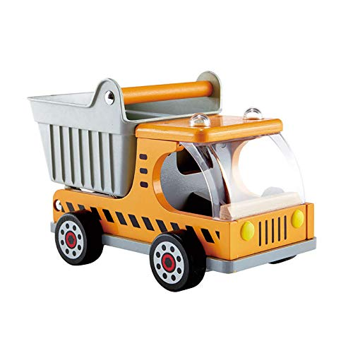 Hape Dump Truck Kid's Wooden Construction Toys Vehicle Multicoloured, L: 10.2, W: 5.7, H: 6.6 inch