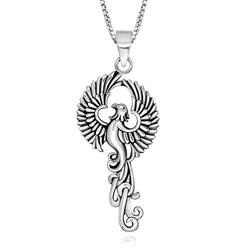 925 Sterling Silver Rising Phoenix Bird Pendant Necklace, 18'