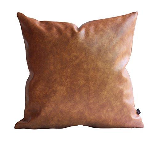 Kdays Simili-cuir épais oreiller couverture Tan décoratifs pour le canapé Throw Pillow Case cuir marron coussin couvre oreiller en cuir de couleur unie 20 x 20 pouces Cuir Tan
