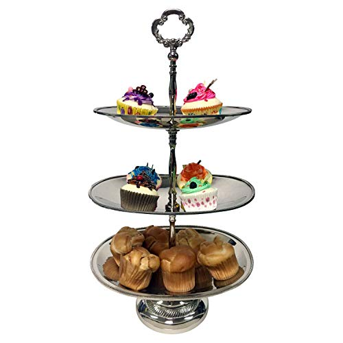"""GiftBay Wedding 3-tier Cupcake Server Stand, Unique Oval Shape, Nickel Plated on BRASS, 20"""" High, Professional Quality"""