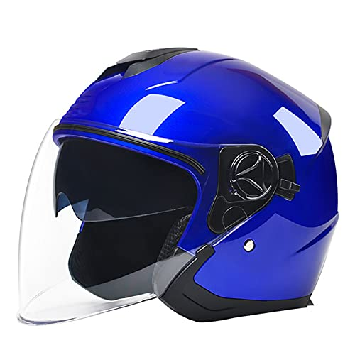 Motorcycle 3/4 Open Face Half Helmet for Youth Men Women DOT/ECE Approved Vintage Motorbike Crash Helmet with Double Sun Visor Retro Style Motorbike Jet Helmet,A