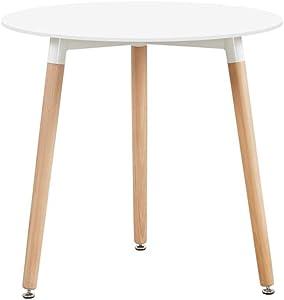 H.J WeDoo Tavolo da Pranzo Rotondo, Tavolo da Cucina in Stile Moderno con Gambe in Legno di faggio, Bianco, 80 x 80 x 72 cm