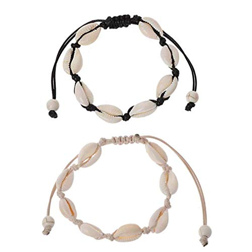 cheap4uk 2 pcs/Set Natural Cowrie Beads Shell Anklet Bracelet Handmade Hawaiian Beach Foot Jewelry