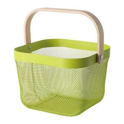 SHUGUAN Praktischer Aufbewahrungskorb aus Edelstahl, Einkaufskorb, Picknickkorb mit Holzgriff (grün)