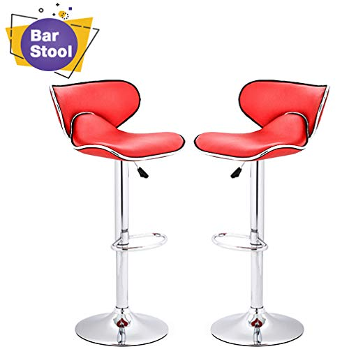 Counter Height Bar Stools Set of 2 Barstool Swivel Counter Stools Height Adjustable PU Leather Kitchen Stools with Back Dining Chairs