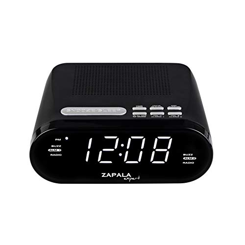 ZAPALA expert Wake-Up Alarm Clock with Radio for Bedside or Kitchen, Dual Alarm, Sleep & Snooze Function, FM Radio with 10 Preset Station, USB Port for Smart Phones and Tablets Charging