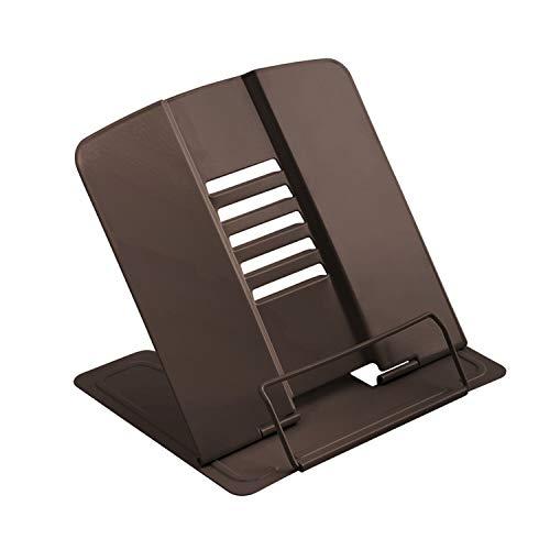 JEEZAO Supporti per Libri Tablet da Cucina in Metallo con 6 Altezze Regolabili, Multifunzine Pieghevole Leggio per Lettura Fermalibri,Casa,Ufficio (Marrone Scuro)