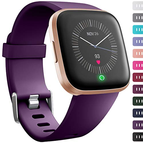 Ouwegaga for Fitbit Versa Straps Sport, for Fitbit Versa Bands Fitness Wristbands for Women Men Small Plum