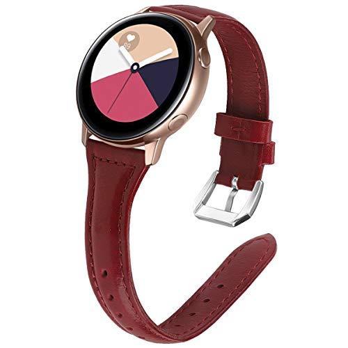 KIMILAR Pulseras Compatible con Samsung Galaxy Watch Active/42mm/Active 2 (40/44mm) Correa Cuero, Reemplazo de Banda de la Muñeca Compatible con Garmin Vivoactive 3,Ticwatch 2,Gear Sport -Rojo