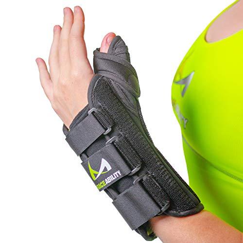 BraceAbility Thumb & Wrist Spica Splint | De Quervain's Tenosynovitis Long Stabilizer Brace for Tendonitis, Arthritis & Sprains Forearm Support Cast (Medium - Right Hand)