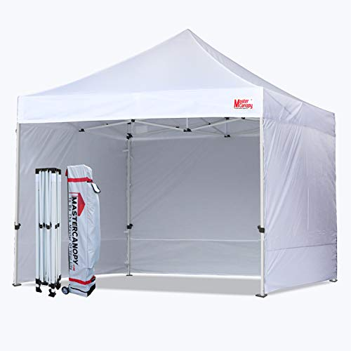 MASTERCANOPY Ez Pop-up Canopy Tent 8x8 Commercial Instant Canopies with 4 Removable Side Walls and Roller Bag, Bonus 4 SandBags(8x8ft,White)