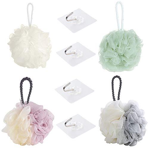 Shower Ball Spugna da doccia,4 pezzi di spugna da bagno per doccia in luffa,pallina da doccia in maglia di colori pastello con 4 pezzi di ganci adesivi a parete,forniture da bagno per uomini donne