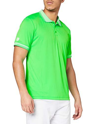 Wilson Herren Tennis Polo-Kurzarmshirt, M Team Polo, Polyester, Grün, Größe: L, WRA765403