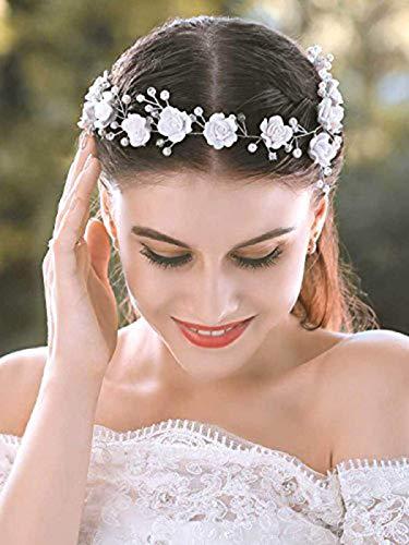 Mayelia Flower Bride Hochzeit Haar Vine Silver Pearl Braut Stirnband Strass Haarschmuck für Frauen und Mädchen