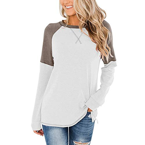 Women t Shirt Crew Neck Long Sleeve t Shirt Loose Comfortable Fashion Casual All-Match Patchwork Pullover Spring, Summer and Autumn New Running Sweatshirt Winter Bottoming Shirt S