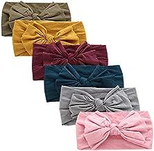 6 PCS Baby Nylon Headbands Hairbands Hair Bow Elastics for Baby Girls Newborn Infant Toddlers Kids