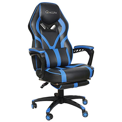 Office Chair Video Game Chair,Gaming Chair Racing Style,High Back PU Leather PC Racing Computer Desk Office Swivel Recliner with Retractable Footrest and Adjustable Lumbar Cushion Support (Blue) chair footrest gaming