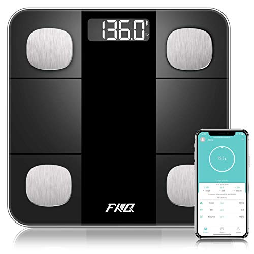 Bluetooth Body Fat Scale High Precision Sensor Scales Digital Weight and Body Fat Smart Bathroom Scales with 8MM Tempered Glass Platform Large Digital Backlit LCD and Smartphone App Black