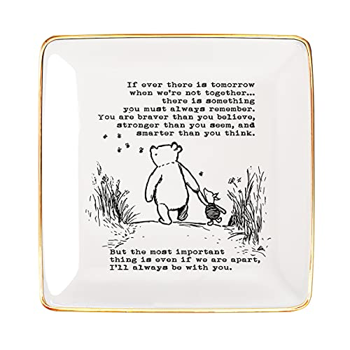 Littlefa Sister Friend Gift Classic Inspiration Winnie The Pooh Ceramic Jewelry Ring Dish Decorative Trinket Plate Birthday Christmas Gifts for Women Jewelry Tray -If ever there is tomorrow black