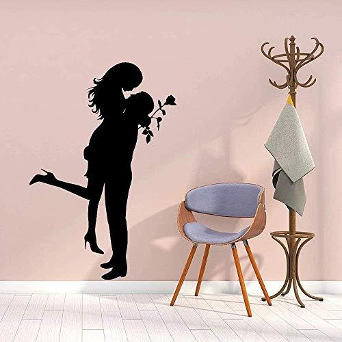 Pegatinas De Pared Pegatinas De Amor Hombre Romántico Rosa Familia Decoración Del Hogar Accesorios De Estilo Simple Sala De Estar Dormitorio Murales De Vinilo 80X54 Cm
