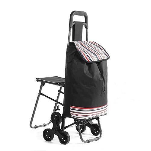 MDHANBK Carrito escaleras Carrito de Compras para Ancianos Rueda Mujer Cesta de Compras hogar Carrito de Compras Remolque portátil Plegable Adecuado para Compras