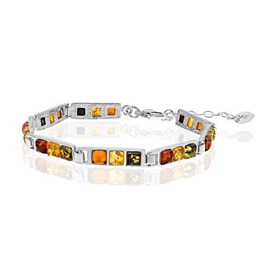 Copal Damen Armband Bernstein Silber 925 Natur Bunt Längen-verstellbar Schmucketui Muttertagsgeschenk