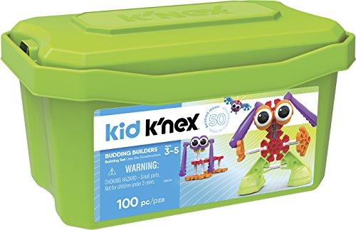 K'nex - Kid K'nex Budding Builders, Baul 100 piezas de construcción, 50 ideas, +3 años (Ref.41225)