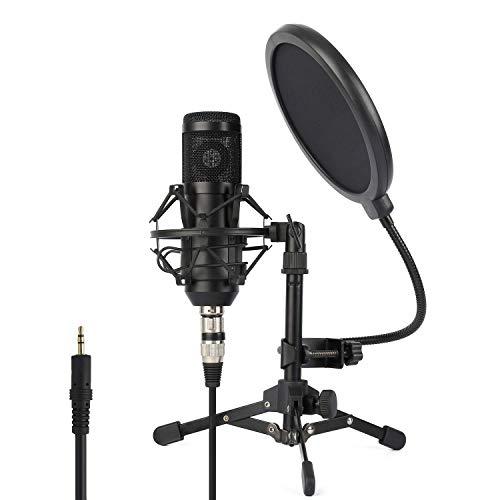 ZINGYOU Microfono de Condensador Kit, ZY-801 Micro Set Estudio Profesional, Micrófono Escritorio con Pie&Brazo para PC,Grabar,Gaming,Podcast(Negro)
