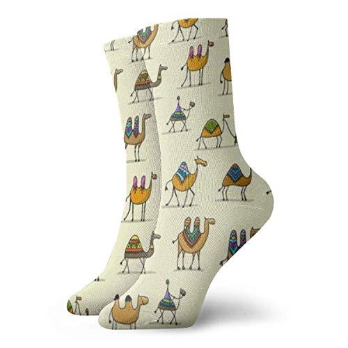 Verctor Calcetines de algodón Ligeramente Acolchados para Mujer Camellos Caravana Full Frame Fashion Cute Sock 30CM