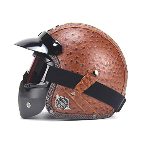 Casque de moto en plein air, masque de sécurité pour adulte en cuir à masque ouvert pour adulte (Couleur : Brown-M)