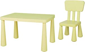 EXCLVEA-TCS Baby Activity Table- Toddler Children Kids Plastic Table And Chairs Set For Study Activity Indoor Outdoor Use Baby Play Table  Color Yellow  Size 77x48x55 67x30cm