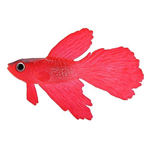 Pssopp Künstliche Fische Silikon Fische Silikon Goldfisch Betta Fisch Lebensechte Künstliche Fische Ornament Schwimmende Fische Aquarium Dekoration Künstliche Bunte Fische (Roter Betta Fisch)