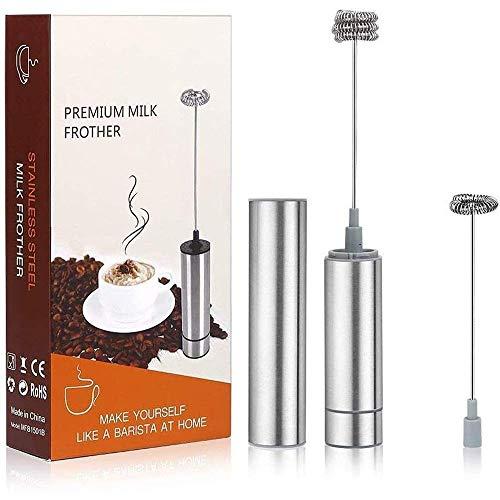 Montalatte Montalatte palmare caffè ugello for Il Latte di schiumatura Hot Chocolate Mini Frappe Mixer in Acciaio Inox Argento con 2 Frusta Testa WTZ012