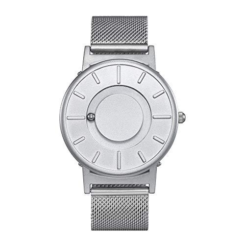 Relojes de Pulsera de Bola magnética para Hombre, Reloj de Cuarzo con Correa de Acero/Nailon para Hombre, Reloj Deportivo Simple sin Puntero (Silver Steel)