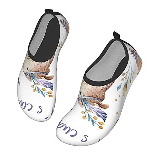 Nicokee Baby Bear - Zapatos de agua para bebé, diseño bohemio, bosque, hoja de selva, naturaleza, playa salvaje, Aqua Yoga calcetines para hombres y mujeres, color, talla 43.5 EU