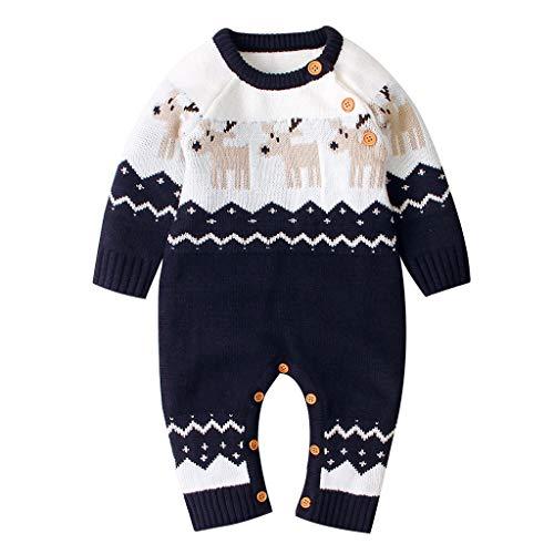 WYTbaby Baby Christmas Rompers Infant Sweater Jumpsuit Newborn Bodysuit Reindeer Onesies, 3-6 Months