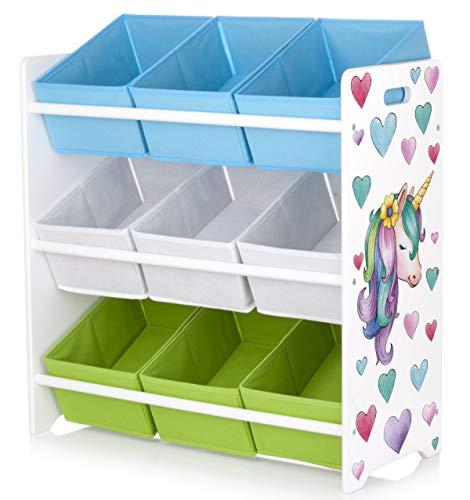 Leomark Scaffale per bambini con box portagiochi, contenitori per giocattoli, colore bianco mensola con nove ripiani non-woven, tema legno: UNICORNO, dimensioni 63cm x 28cm x 63cm (LxPxA)