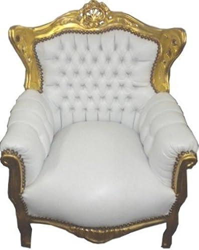Casa Padrino Barock Kinder Sessel Weiß Gold - Tron