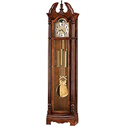 Howard Miller Jonathon Floor Clock 610-895 – Windsor Cherry Vertical Grandfather Home Decor with Chain-Driven Single-Chime Movement
